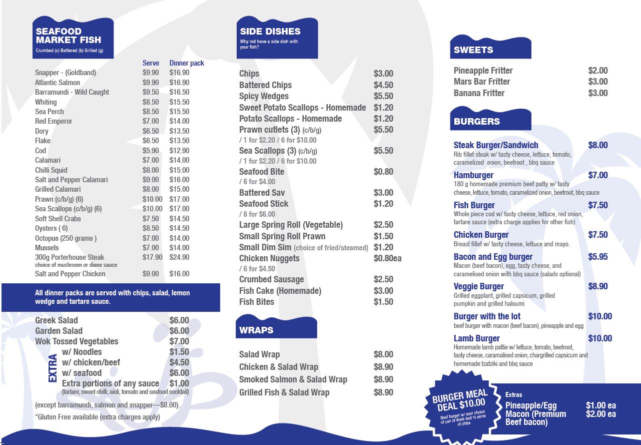 Menu for Two fish menu
